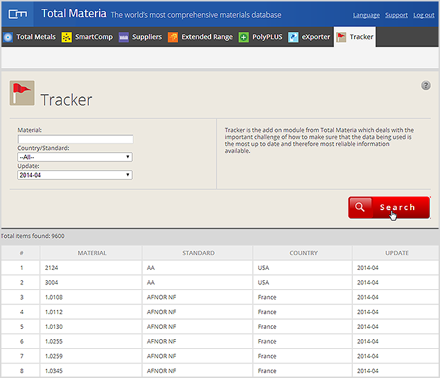 Selecting an update period through the Tracker module